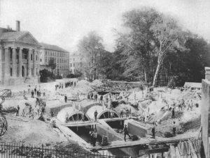 Foto München – Überwölbung des Schwabinger Bachs 1890